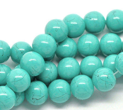 40 Round Glass Beads, BLUE GREEN TURQUOISE with black marbeling, marble pattern, 10mm  bgl0294