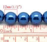 12mm SAPPHIRE BLUE Round Glass Pearls . 30 beads  bgl0272