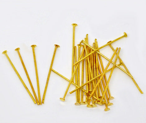 "Bulk Package 700 Bright Gold Tone Metal Flat Head Pins 21/22 gauge, 24mm long (1"" long)  pin0017"