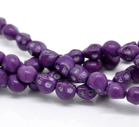 DARK PURPLE Miniature Stone Sugar SKULL Gemstone Beads . 10x8mm . approx 40 beads . carved stone how0152