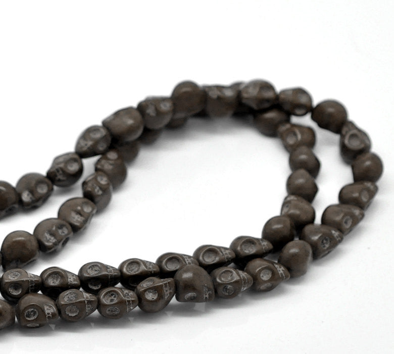 CHOCOLATE BROWN Miniature Stone Sugar SKULL Gemstone Beads . 10x8mm . approx 40 beads . carved stone how0157