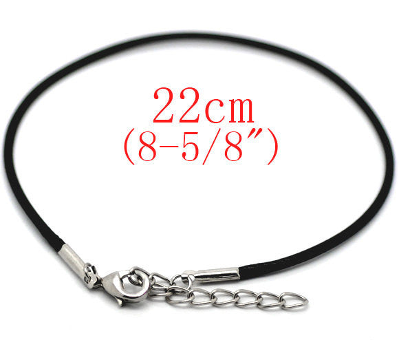 "30 pieces Black Lobster Clasp Wax Rope Bracelets . adjustable . 22cm (8-5/8"")  fch0058"