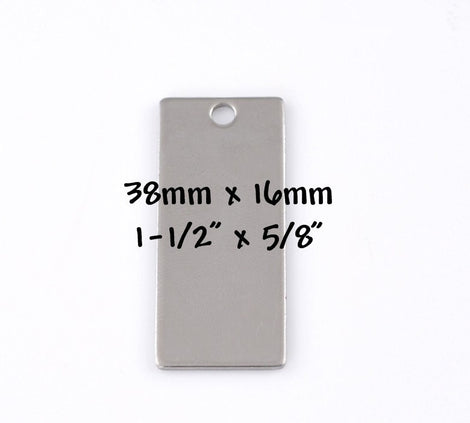 "5 LARGE Stainless Steel Metal Stamping Blanks Charms ( 38x16mm, 1-1/2"" x 5/8"" ) RECTANGLE Tags, 18 gauge  MSB0015"