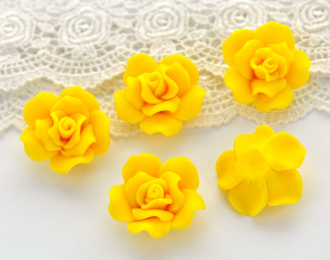 "4 Medium LEMON YELLOW Polymer Clay Rose Flower Beads 30mm (about 1.25"") pol0019"