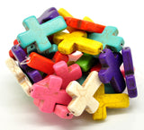 Howlite Stone Cross Beads . Mixed Bright Colors . Sideways Cross . 30mm x 20mm how0008