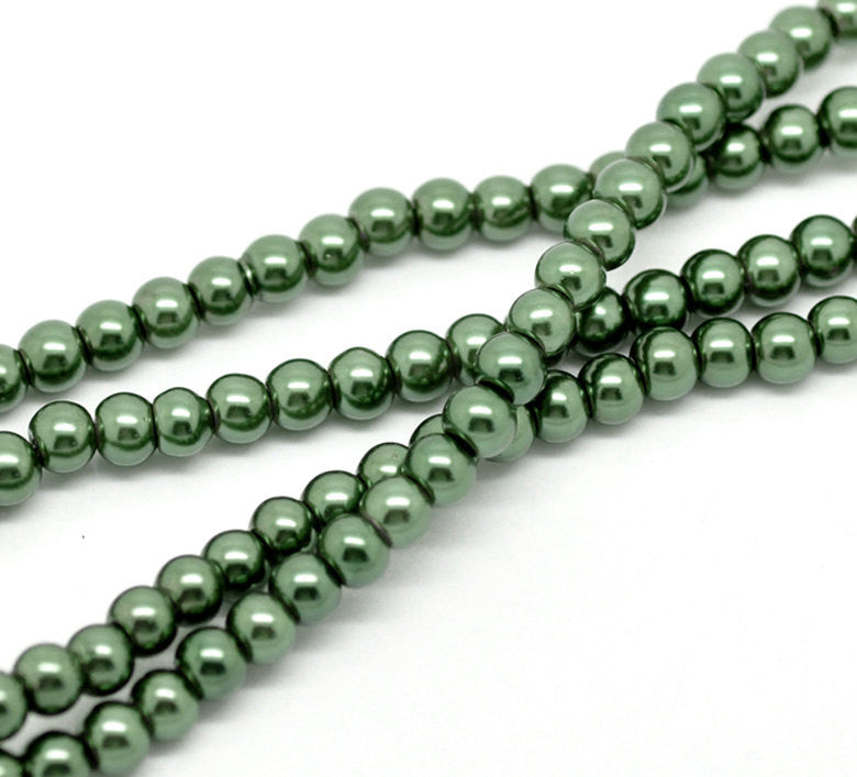 "6mm PINE GREEN Round Glass Pearls . long 32"" strand . about 145 beads bgl0414"
