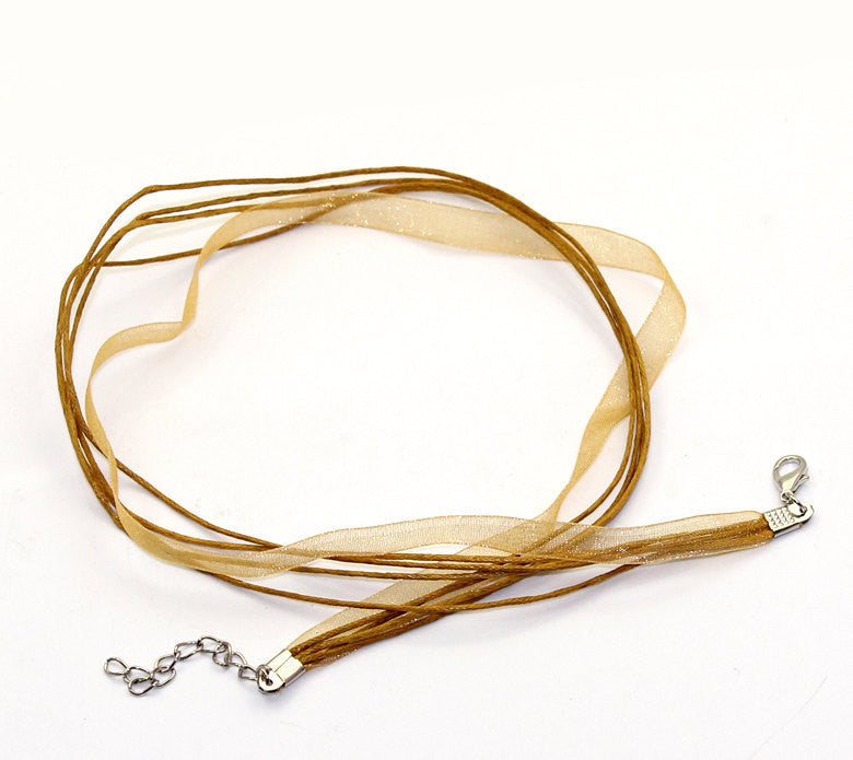 "20 TAN Organza Necklace Cords with Lobster Clasp . 17.5"" long with 2"" extender chain  fch0036"