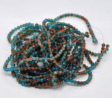 "4mm Crackle Glass ORANGE and TURQUOISE TEAL Round Glass Beads . 32"" strand . Bgl0299"