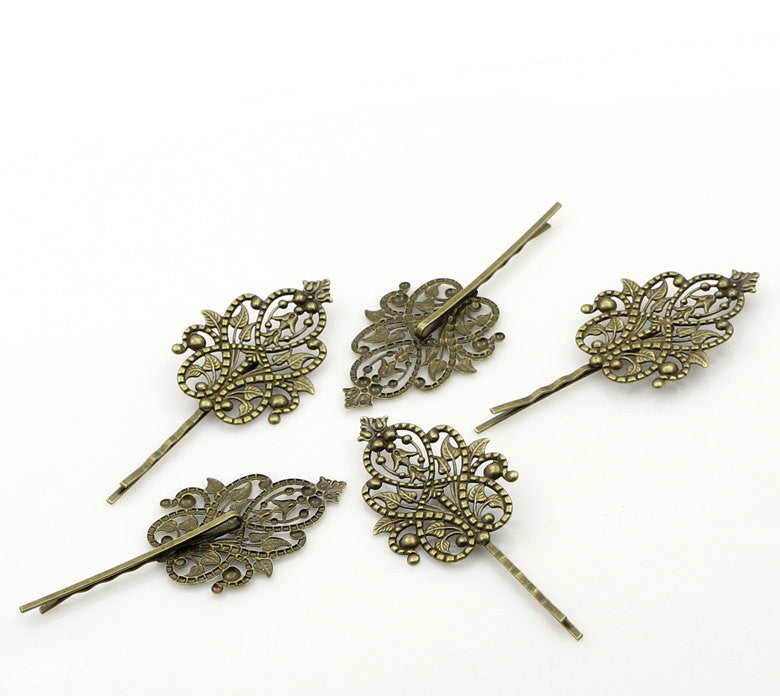 5 Large Antique Bronze Filigree Metal Bobby Pins, great for embellishing fin0053