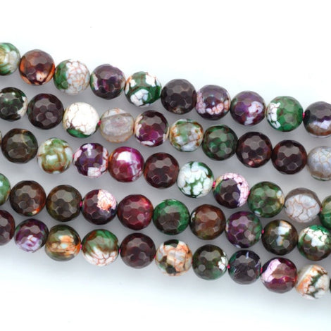 1 Strand Round Dyed Faceted PURPLE and GREEN AGATE Beads, 10mm gag0005
