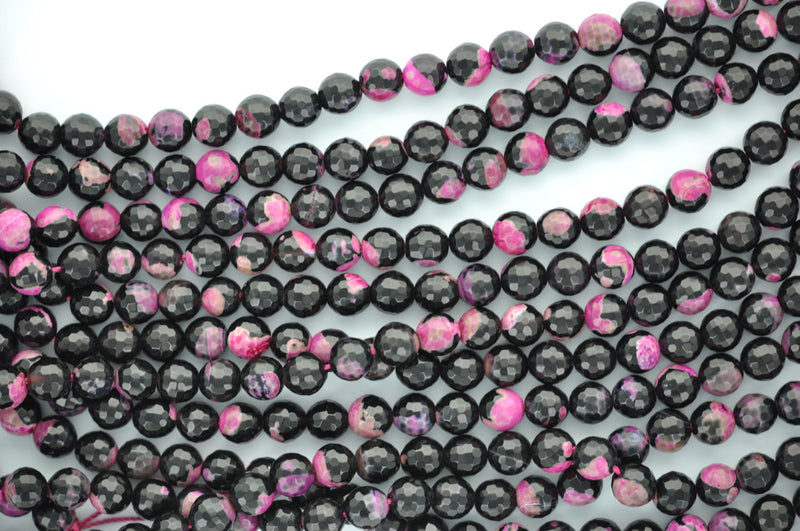 1 Strand Round Dyed Faceted Hot PINK and BLACK AGATE Beads, 8mm gag0100