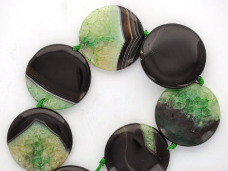 "1 pc. Puffed Coin Disc GREEN and BLACK AGATE Focal Bead . 34mm, 1-3/8"" diameter gag0018"