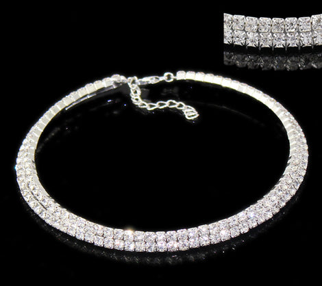"1 Silver Plated Rhinestone Choker Chain, add your own charms . 14.6"" length  fch0150"