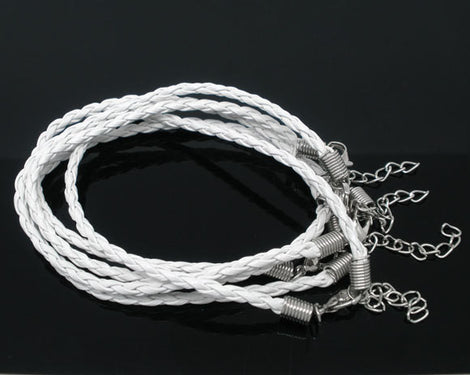 "20 WHITE Leatheroid Bracelet Braided Cords with Lobster Clasp . 8"" long plus 2"" extender chain fch0022"