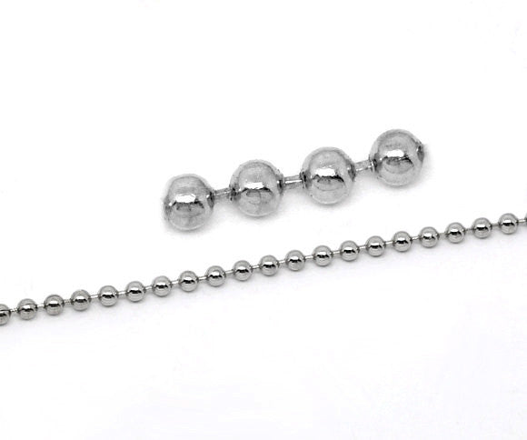 10 meters (over 32 feet) SILVER TONE Metal Ball Chain 2.4mm fch0029
