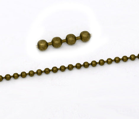 10 meters (over 32 feet) ANTIQUED BRONZE TONE Metal Ball Chain 2.4mm fch0132