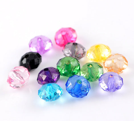 300 Acrylic Rondelle Beads, mixed colors 10mm bac0088