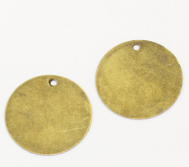 20 pcs. Antiqued Bronze Tone Metal Stamping Blanks Charms ( 20mm ),  ROUND DISC TAGS, 28 gauge  msb0127