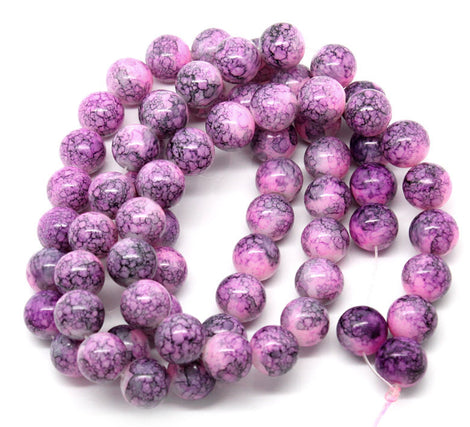 12mm HOT PINK with PURPLE Marble Pattern Round Glass Beads . 30 beads  bgl0262