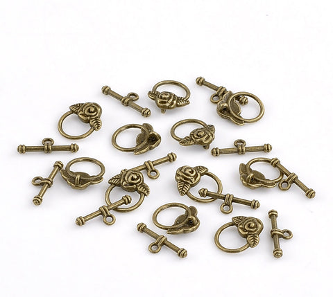 Antique Bronze Metal Toggle Clasps  ROSE FLOWER  5 sets fcl0064