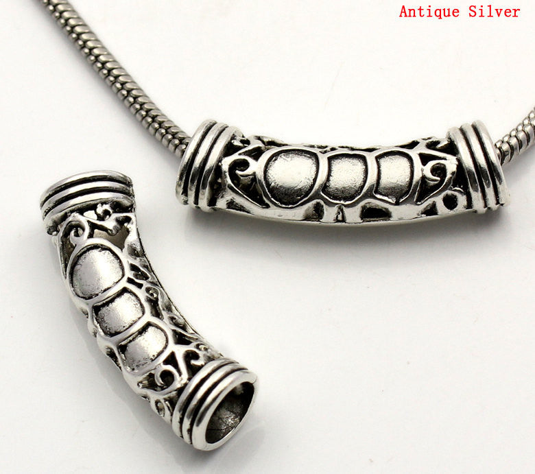 "4 pcs. Antiqued Silver Tone Metal Filigree Tube Beads, about 1-5/8"" long  bme0300"