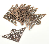 25 COPPER Vintage Style Filigree Flat Metal Findings  Bulk package  FIL0019