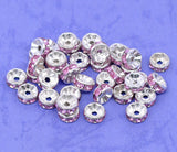 8mm CANDY PINK Coated Rhinestone Crystal Silver PlatedSpacer Rondelle Beads . 100 pieces . Smooth Edge  bme0188