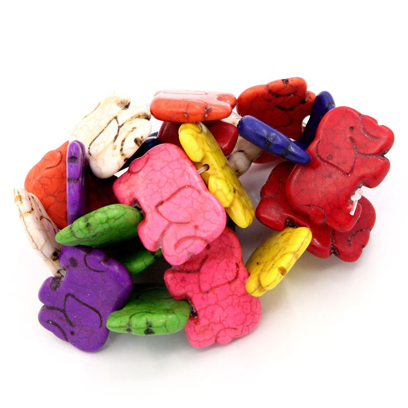 1 strand Howlite ELEPHANT Beads, mixed rainbow colors  HOW0101