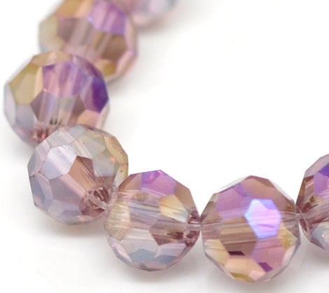 1 Strand (about 95 Beads) Pastel Purple AB Faceted Round Crystal Glass Beads  4mm  bgl0524
