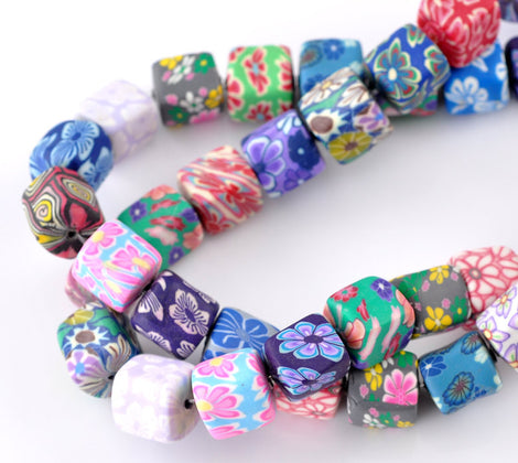 10 MULTI COLORED Polymer Clay CUBE Millifiori Flower Beads   10-12mm  pol0055