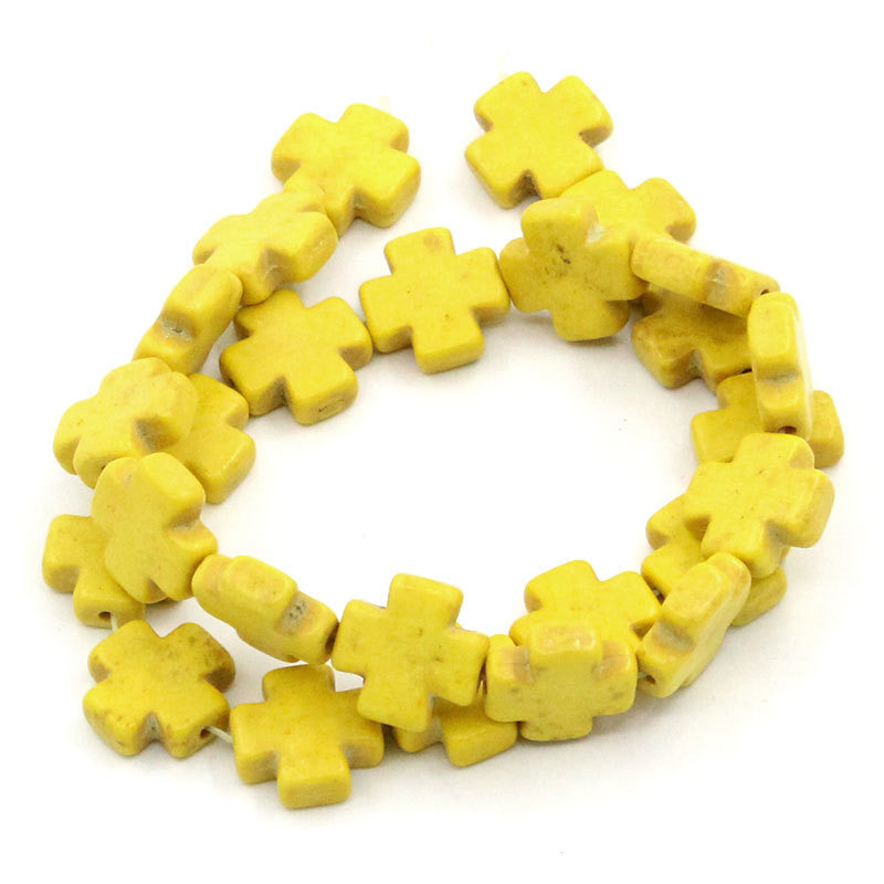 1 strand Howlite Stone Beads YELLOW MALTESE CROSS 15mm how0163