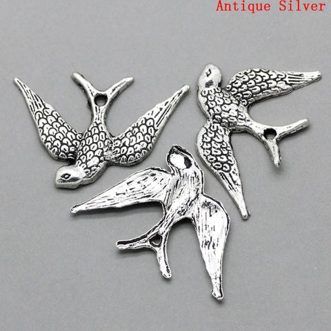 10 Silver Pewter DOVE BIRD Charm Pendants chs0734