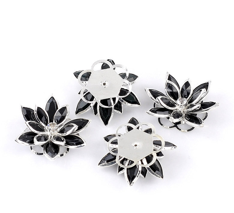 2 Rhinestone BLACK 3D FLOWER Connector Link Findings 35mm x 30mm . fin0031