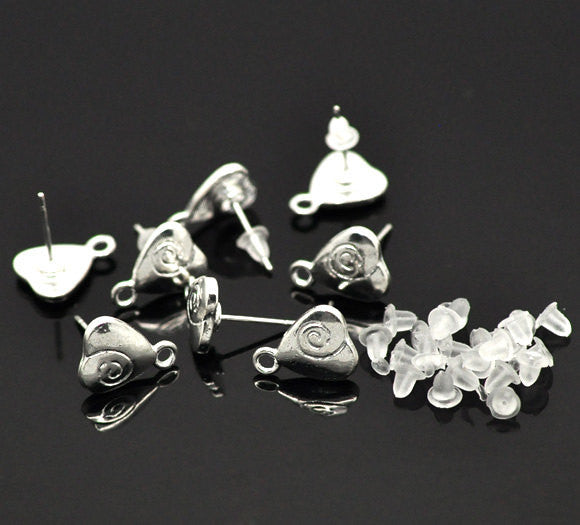 10 Silver Plated HEART POST Earrings with Loops (5 pairs)   fin0308