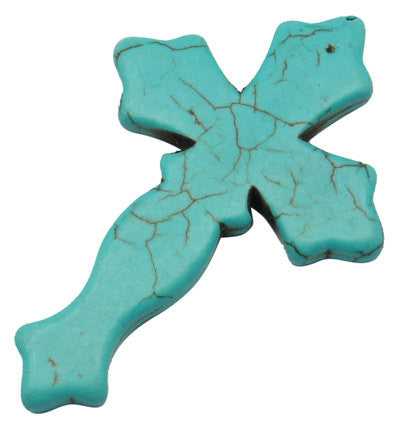 "2 LARGE Turquoise Howlite Gothic Cross Pendant Beads, drilled front to back, 3"" long how0064a"