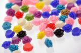 50 Tiny Resin Rose Beads or Cabochons  10mm diameter  . mixed colors cab0252