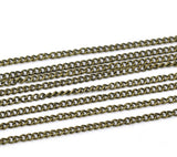 10 meters (32.8 feet) of Antiqued Bronze Curb Link Chain . unsoldered links are 3x2mm fch0092