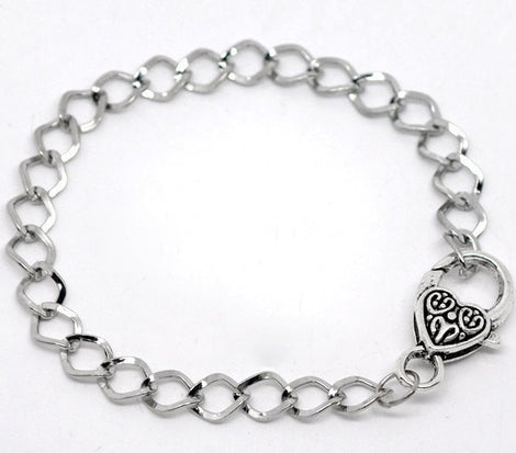 5 pieces Bulk Package Oxidized Silver Tone Metal CURB LINK Charm Bracelets with Heart Lobster Clasp . adjustable fch0035
