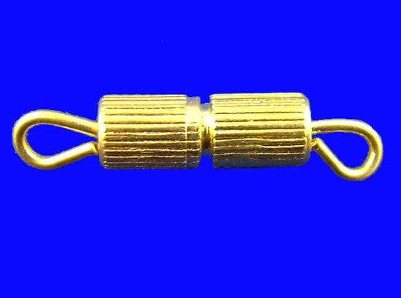 10 Small Bright Gold Tone Barrel Screw Clasps 15mm fcl0070