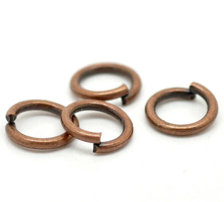 1000 Copper Open Jump Rings Findings 6mm x 1mm, 18 gauge wire . wholesale bulk package, jum0189b