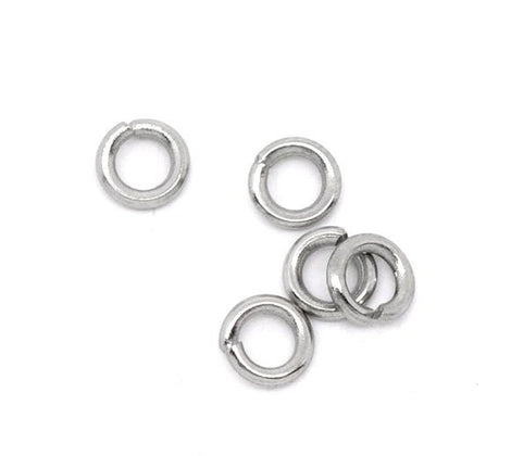 50 PCs 4mm STAINLESS STEEL Open Jump Rings 18 gauge wire Findings jum0166a