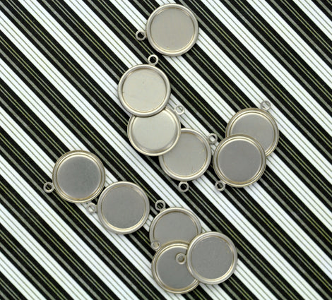 "6 Unfinished Nickel Silver Metal Stamping Blanks Charms 5/8"" RAISED EDGE CIRCLE Tags 24 gauge . msb0101"