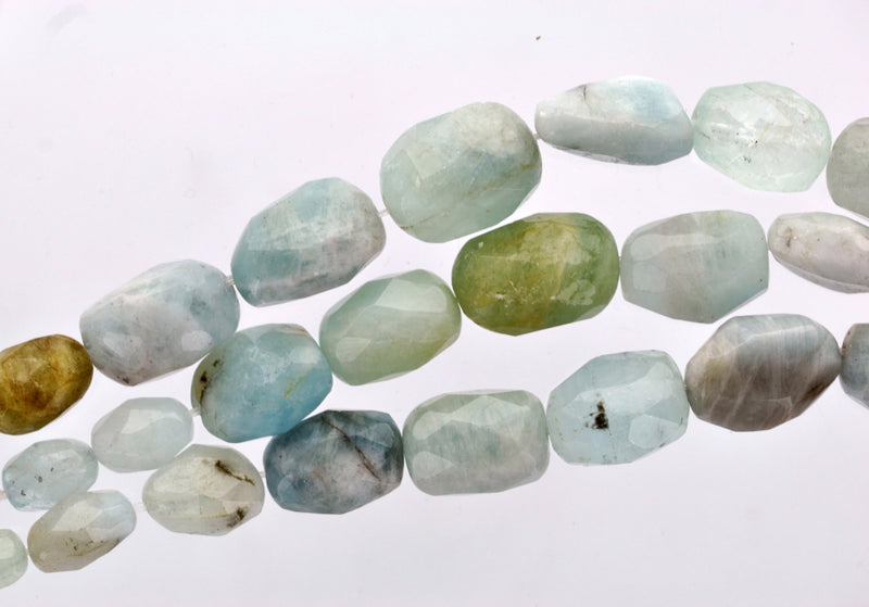 Half Strand AQUAMARINE Nugget Beads, graduated sizes  Natural Gemstones gaq0002