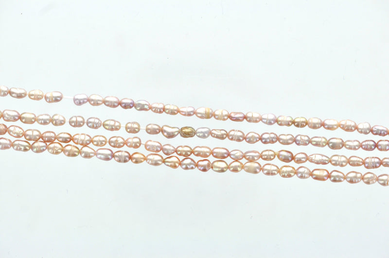 24 Oval LIGHT PINK Freshwater Pearls Beads, 2.3mm to 3mm gpe0015