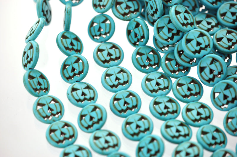 1 Strand Small TURQUOISE BLUE Carved Jack O Lantern Beads . approx 26 beads . carved howlite stone 15mm . how0018