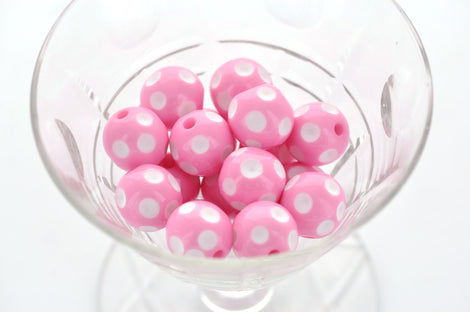 16mm Large Solid Acrylic Round BUBBLEGUM Beads . CANDY PINK Polka Dots, 9 beads, bac0003