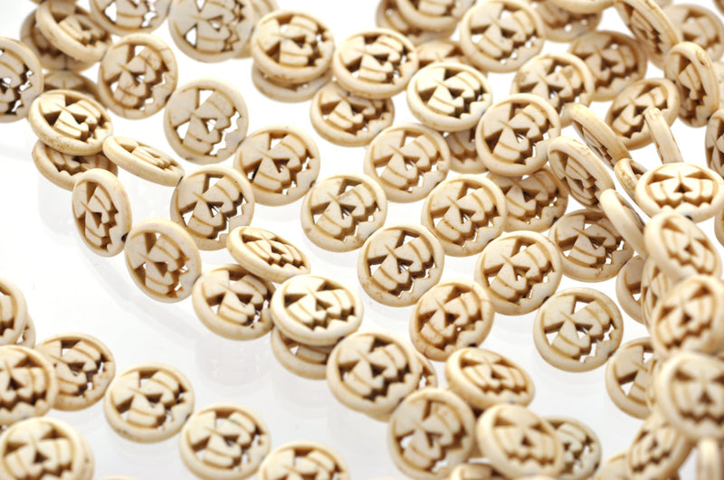 1 Strand Small GHOSTLY WHITE Carved Jack O Lantern Beads . approx 26 beads . carved howlite stone 15mm . how0017