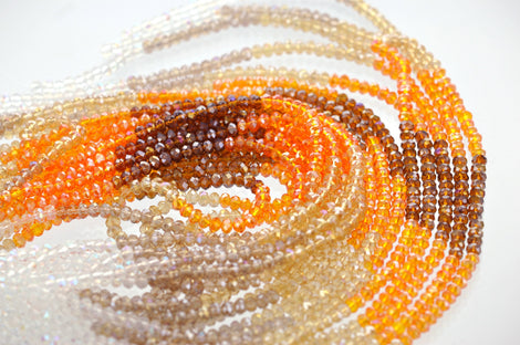 Full Strand Crystal Rondelle Beads . HARVEST MIX 4mm . about 100 beads  bgl0514