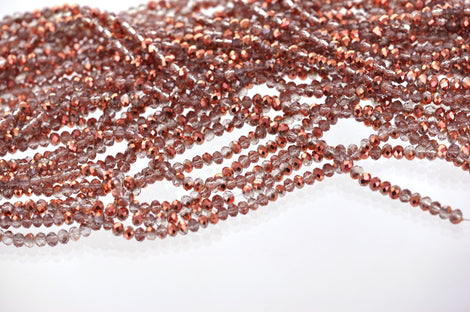Full Strand Crystal Rondelle Beads . COPPER and CLEAR MIX 4mm . about 100 beads  bgl0522