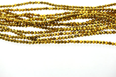 Full Strand Crystal ROUND Beads .  BRIGHT GOLD 4mm . about 80 beads  bgl0533